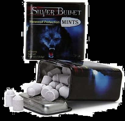 Halloween Candy Gifts Werewolf Silver Bullet Mints