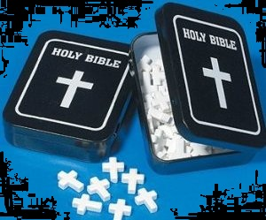 Halloween Candy Gifts Mints Cross Shaped Mints and Bible Tin